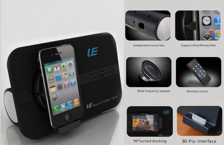 10 Watt Soundsystem für Apple 30 PIN: iPhone 3, iphone 4, iphone 4GS,
