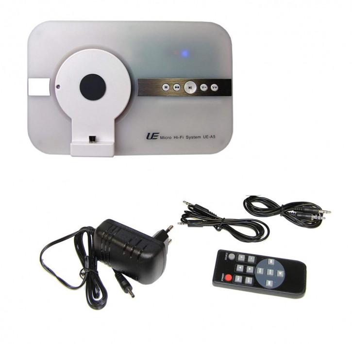 10 Watt stereo Musiksystem Micro USB & Bluetooth, Fernbedienung, Soundsystem weiß.