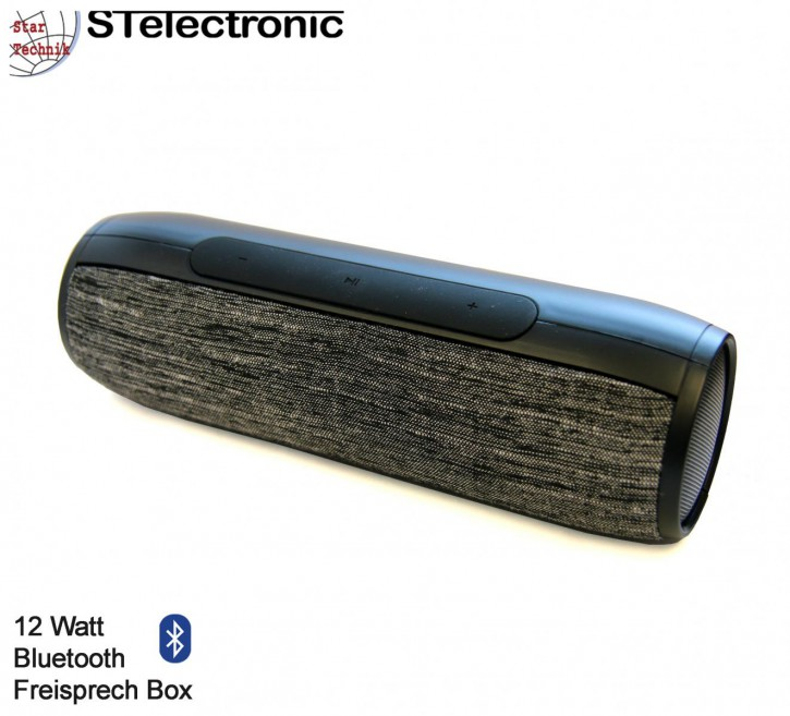 12 Watt Bluetooth Lautsprecher mit Akku Freisprecheinrichtung, schwarz.