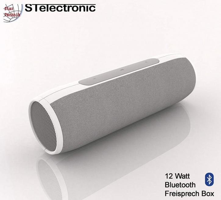 12 Watt Bluetooth Lautsprecher mit Akku Freisprecheinrichtung, weiss
