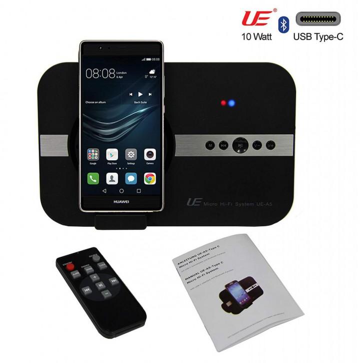 10 Watt stereo Bluetooth Lautsprecher USB-C, (USB Typ C), schwarz.
