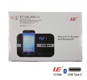 10 Watt Soundsystem mit Wecker Uhr Radio USB C, schwarz. (USB Typ C)